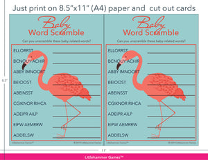 Baby Word Scramble flamingo game cards with printing instructions