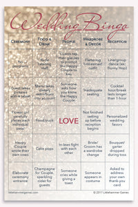Rose gold glitter Wedding Bingo game card