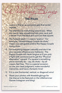 Rose gold glitter Wedding Bingo game rules card