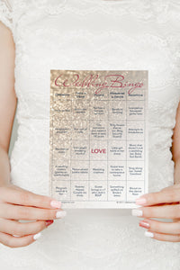 Wedding Bingo - Rose Gold Glitter Printed Game Cards