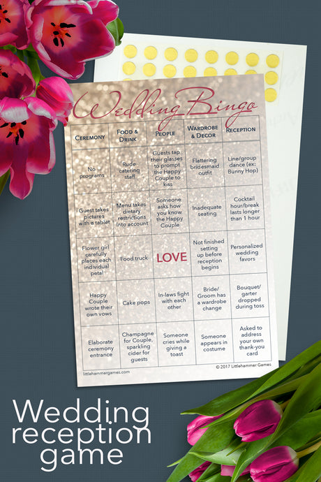Rose gold glitter Wedding Bingo game card on a gray background with tulips and a text overlay