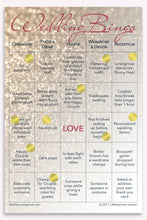 Rose gold glitter Wedding Bingo game card with gold stickers marking the squares