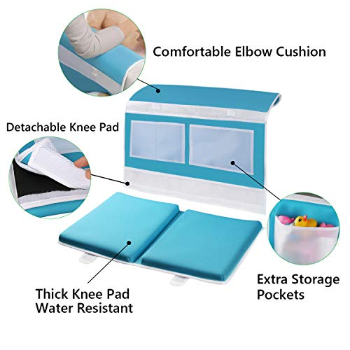 Bathtub Kneeling Mat with Toy Organizer and Elbow Rest