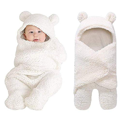 White Plush Bear Swaddle Blanket