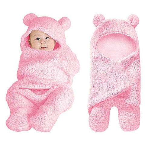 Pink Plush Bear Swaddle Blanket