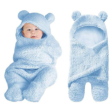 Light Blue Plush Bear Swaddle Blanket