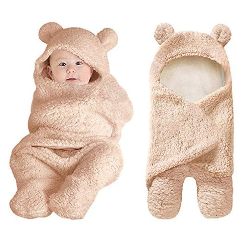 Brown Plush Bear Swaddle Blanket