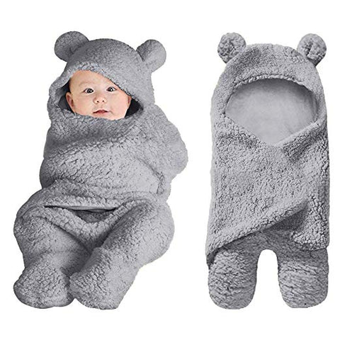 Grey Plush Bear Swaddle Blanket