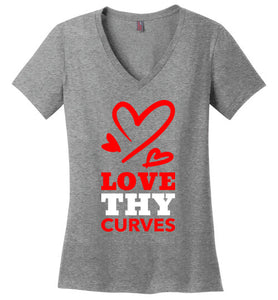 Love Thy Curves V-Neck Tee (Red/White) T-Shirts - Royally Curved