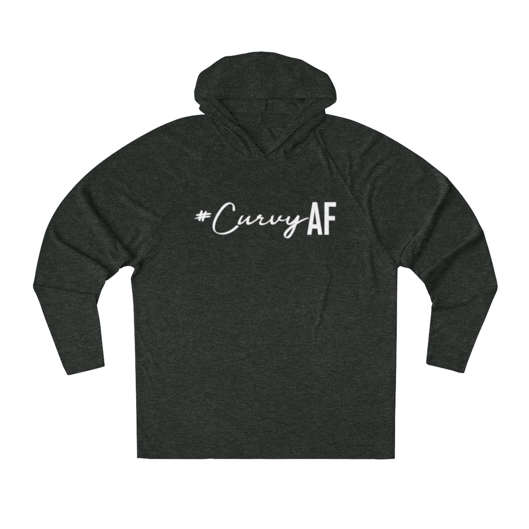 #CurvyAF in White Long Sleeve Hooded T-Shirt (UNISEX) T-Shirts - Royally Curved