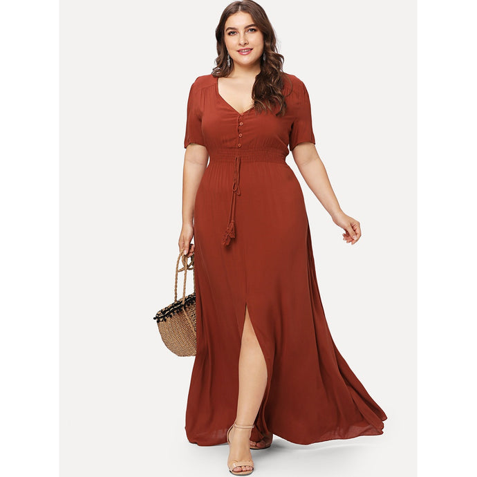 Shirred Waist High Slit Maxi Dress Dresses - Royally Curved