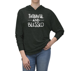 Thankful and Blessed in White Long Sleeve Hooded T-Shirt (UNISEX) T-Shirts - Royally Curved