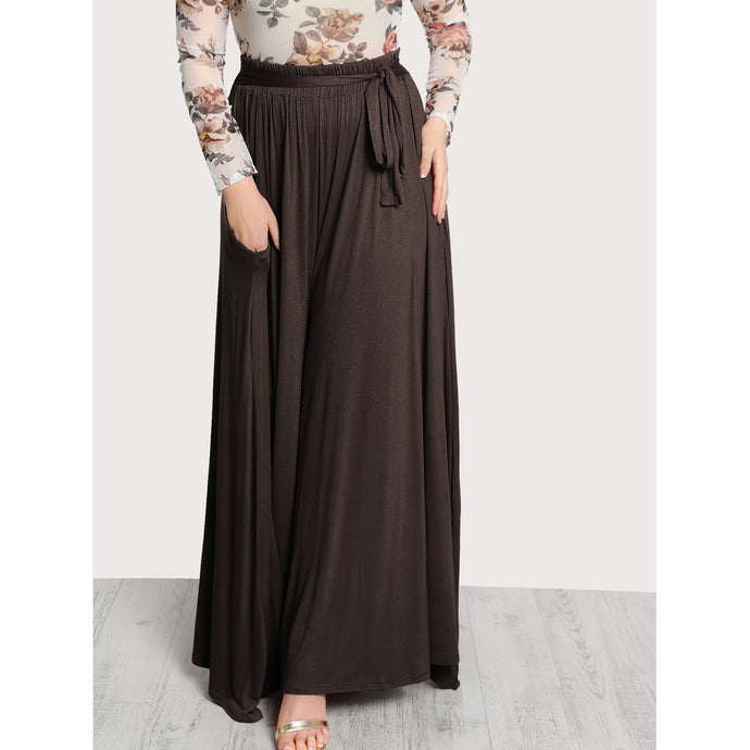 Pleated Palazzo Pants in Brown Pants - Royally Curved