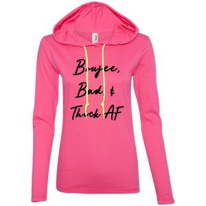 Bougie Bad & Thick AF Long Sleeve Hooded T-Shirt T-Shirts - Royally Curved