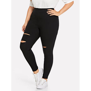 High Waist Stretch Skinny Pants with Rips in Black Pants - Royally Curved