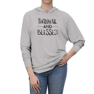 Thankful and Blessed in Black Long Sleeve Hooded T-Shirt (UNISEX) T-Shirts - Royally Curved