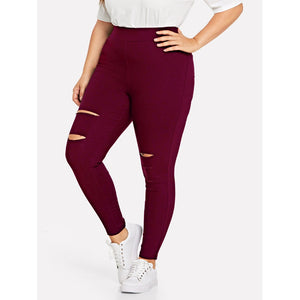 High Waist Stretch Skinny Pants with Rips in Burgundy Pants - Royally Curved