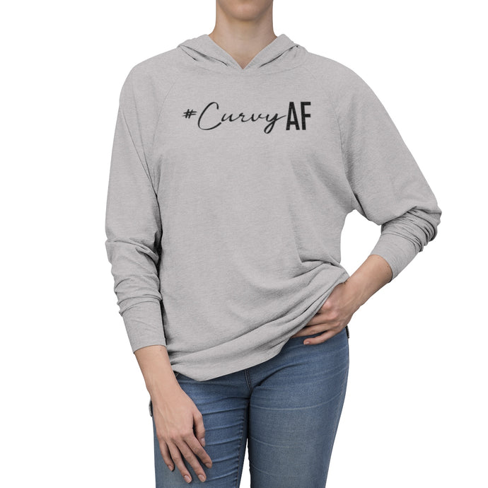 #CurvyAF in Black Long Sleeve Hooded T-Shirt (UNISEX) T-Shirts - Royally Curved