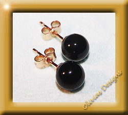 Massiv 9 Kt Gold 375 Ohrringe Ohrstecker mit 6mm Onyx - Olivia`s Design