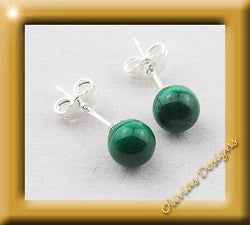 Sterling silver Earrings, 6mm, Malachite, on stamped silver 925 ear studs - Olivia`s Design