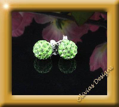 Shamballa Earrings, 10mm, Green, on stamped silver 925 ear studs - Olivia`s Design