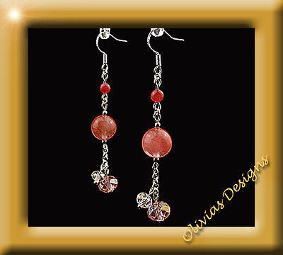 Sterling silver Earrings, Tuormaline and Swarovski Crystals - Olivia`s Design