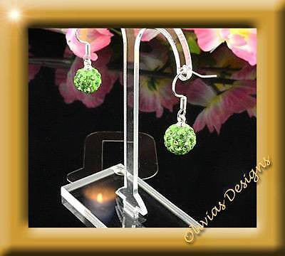 925 Sterling silver earrings with 10mm Shamballa, Green - Olivia`s Design