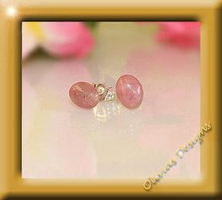 Sterlingsilber, Ohrstecker, Silber 925,  8 x 6mm Oval Cabochon Rhodonite - Olivia`s Design