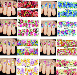 Nail Sticker Nagel Finger, Fuß nägel Tattoo Aufkleber Schmetterlinge, Blumen - Olivia`s Design