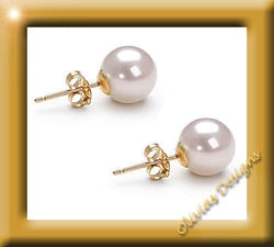 Solid 18 ct Gold 6.4 - 6.7 mm Akoya Pearl earrings made in Germany - Olivia`s Design
