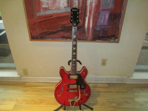 Early 1970s Epiphone EA-250 Semi-Hollowbody Guitar. Kalamazoo Blue Label. Stunning Red Finish.