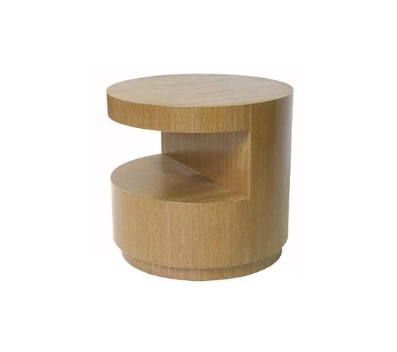 Cylinder Cut-Out Occasional Table With Recessed base.