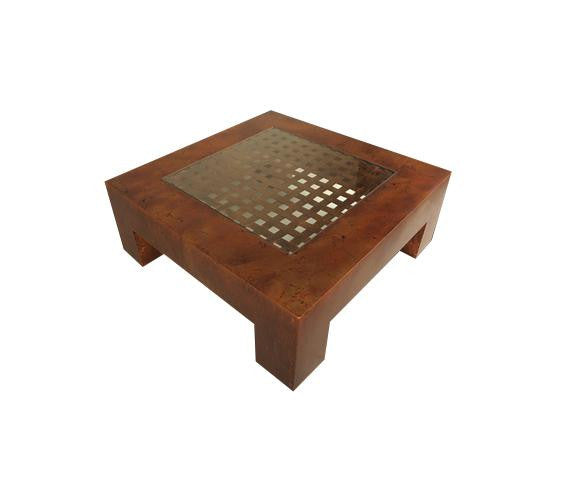 Parsons Coffee Table Inset Weave and Glass Top