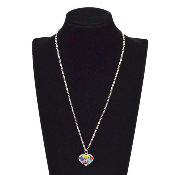 Autism Heart Puzzle Piece Necklace