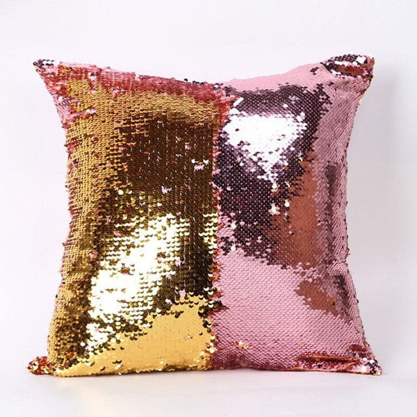 Two Tone Glitter Sequins Pillow Cases Sofa Decorative Cushion Covers