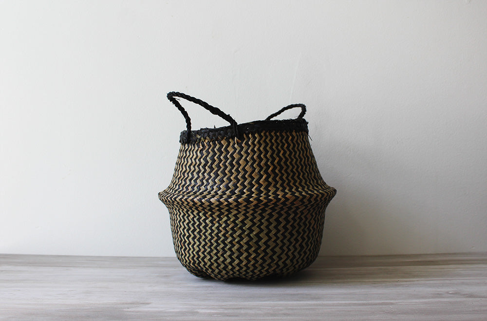 Noir Stripe Basket, Small
