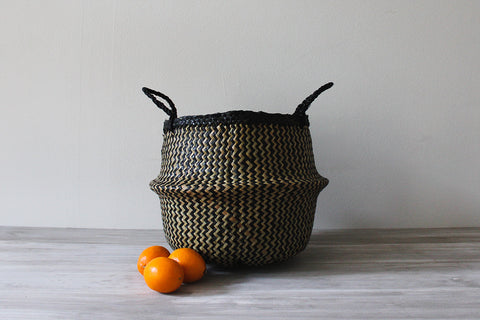 Noir Stripe Basket, Medium