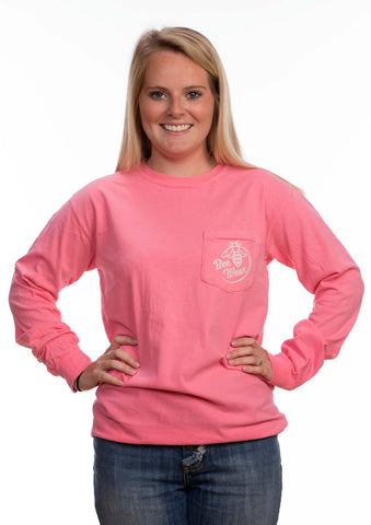 Long Sleeve Pocket Pink Paisley