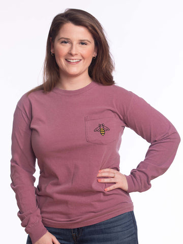 Long Sleeve Pocket Berry