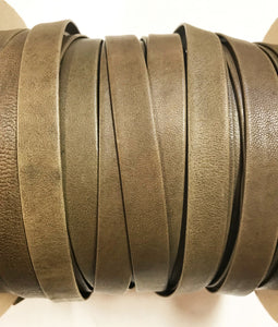 "Army Green 5/8"" Folded Leather Lace - Sold Per Yard"