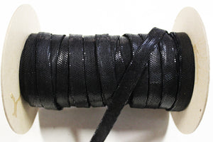 "Black Sequin 1/2"" Folded Leather Lace - Sold Per Yard"