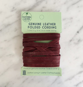 "1/4"" - 1 Burgundy Leather Lacing Pack (3 yards)"