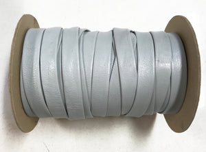 "Cloud Grey 5/8"" Folded Leather Lace - Sold Per Yard"