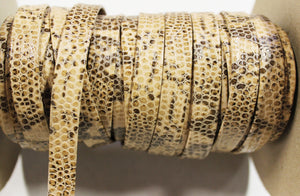 "Cream Brown Snake 1/2"" Folded Leather Lace - Sold Per Yard"