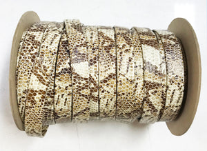 "Cream Brown Snake 5/8"" Folded Leather Lace - Sold Per Yard"