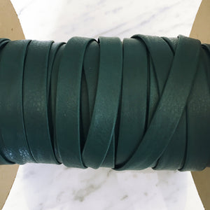 "Dark Aqua 1/2"" Folded Leather Lace - Sold Per Yard"