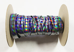 "Holographic Rainbow 1/2"" Folded Leather Lace - Sold Per Yard"