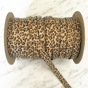 "Leopard 1/2"" Folded Leather Lace - Sold Per Yard"