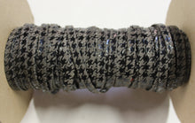 "Grey Houndstooth 1/4"" Folded Leather Lace - Sold Per Yard"