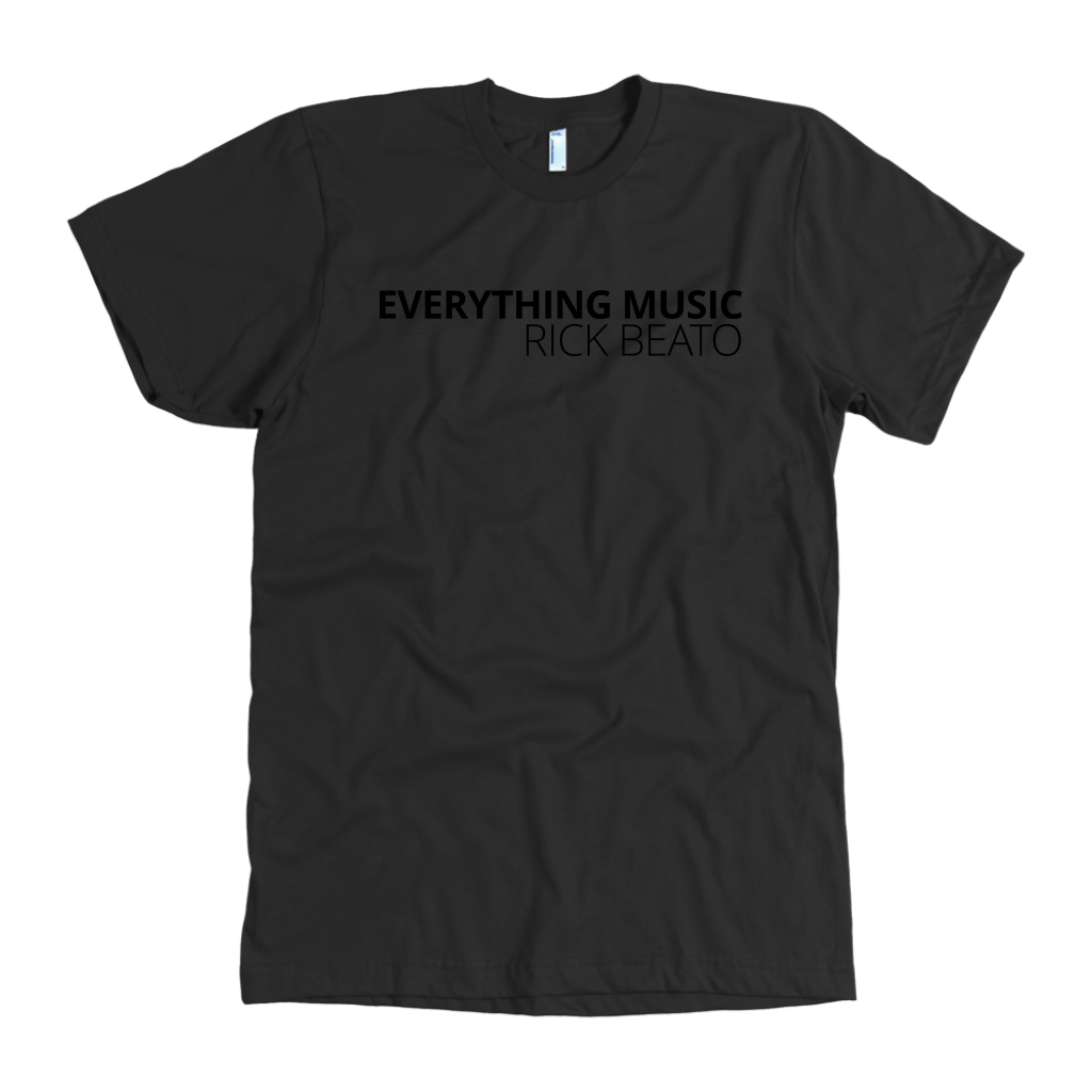 'EVERYTHING MUSIC' Black T-Shirt by American Apparel